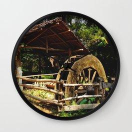 Folksy Water Wheel Wall Clock