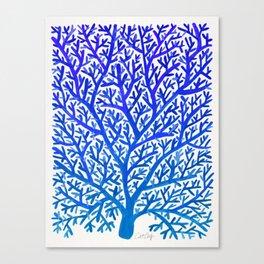Fan Coral – Blue Ombré Canvas Print