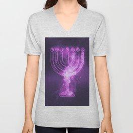 Hanukkah menorah symbol. Menorah symbol of Judaism. Abstract night sky background. Unisex V-Neck