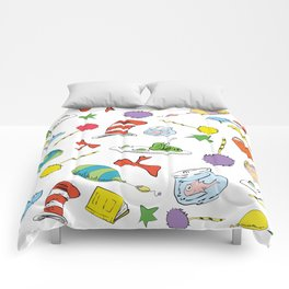 dr seuss pattern..  cat in the hat, lorax, oh the places you'll go,  Comforters