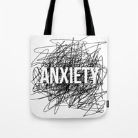 anxiety Tote Bags featuring anxiety by petrsvetr