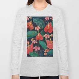 watercolor tropical flowers Long Sleeve T-shirt