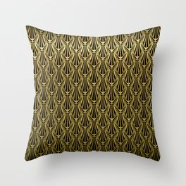 Overlapping Shell Pattern in Gold Throw Pillow