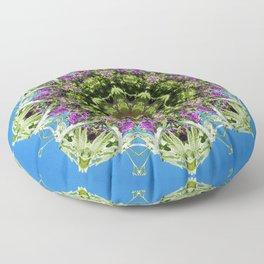 Intricate floral kaleidoscope - Vebena, Dichondra leaves with blue sky Floor Pillow