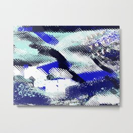 """Blue and white abstract """"live your life"""" Metal Print"""