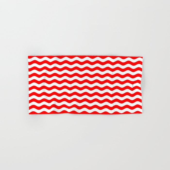 Wavy Stripes (Red/White) Hand & Bath Towel