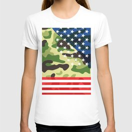 Patriotic camouflage pattern T-shirt