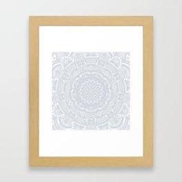 Light Gray Ethnic Eclectic Detailed Mandala Minimal Minimalistic Framed Art Print