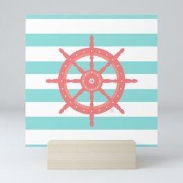 AFE Nautical Wheel  Coral & Seafoam Mini Art Print