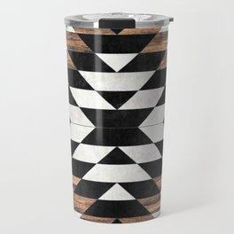 Urban Tribal Pattern No.13 - Aztec - Concrete and Wood Travel Mug