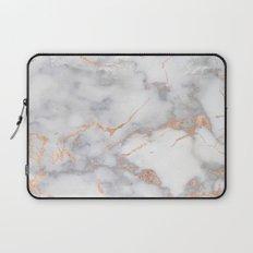 Grey Marble Rosegold  Pink Metallic Foil Style Laptop Sleeve