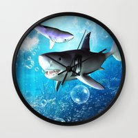 shark Wall Clocks featuring Shark by nicky2342