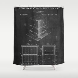Beehive Patent with Bees Shower Curtain