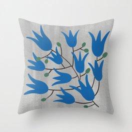Blue Bell Flowers on Silver Background – Blue Bell – Scandinavian Folk Art Throw Pillow