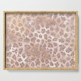 Rosegold Blush Leopard Glitter   Serving Tray