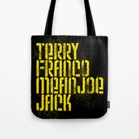 steelers Tote Bags featuring Terry Franco Mean Joe Jack / Black by Brian Walker