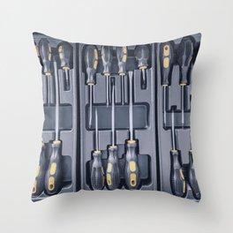 Set of Screwdrivers inside Toolbox, Screwdrivers Set, Box with Set of Tools, Set Mechanical Tools. Throw Pillow