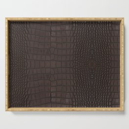 Alligator Brown Leather Print Serving Tray