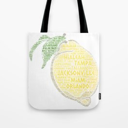 Citrus Fruit illustrated with cities of Florida State USA Tote Bag