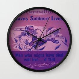 Vintage poster - Penicillin Wall Clock