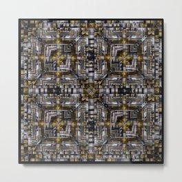 no. 200 black brown gold white pattern Metal Print