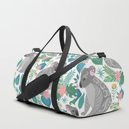 Cute gray koalas with ornaments, tropical flowers and leaves. Seamless tropical pattern. Duffle Bag
