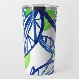 Blue and lime green abstract apple tree Travel Mug