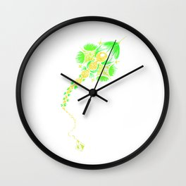 Abstract kite - Green and yellow Wall Clock
