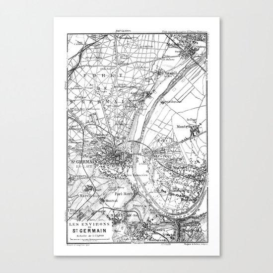 Vintage Paris Map Canvas Print
