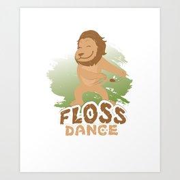 Floss Dance Move Lion Art Print