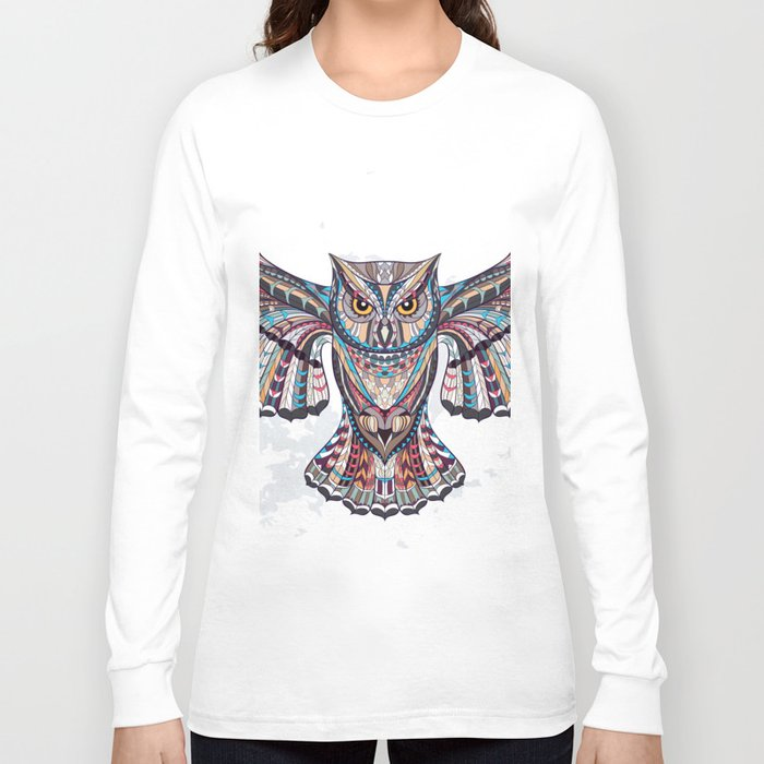 Colorful Ethnic Owl Long Sleeve T-shirt