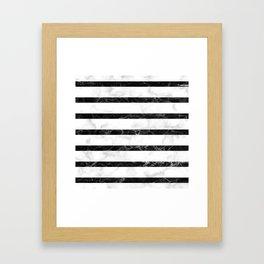 marble horizontal stripe pattern - white marble black marble Framed Art Print
