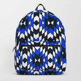 Geometric Blue & Black Backpack