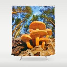 Blackbird Mushrooms Shower Curtain