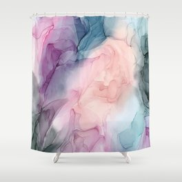 Dark and Pastel Ethereal- Original Fluid Art Painting Shower Curtain