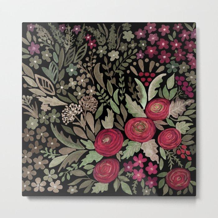 Watercolor . Night garden . Metal Print
