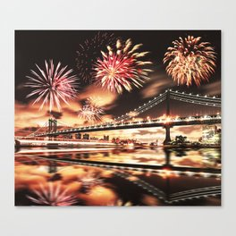 new york city with fireworks Canvas Print