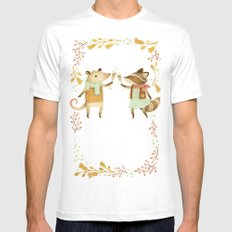 Cheers! From Pinknose the Opossum & Riley the Raccoon White MEDIUM Mens Fitted Tee