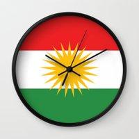 flag Wall Clocks featuring Kurdistan flag country flag by tony tudor
