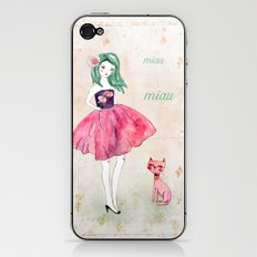 Pink cat iPhone & iPod Skin