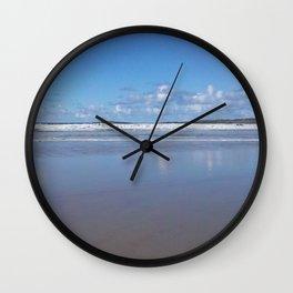 Blue and White Beach Wall Clock