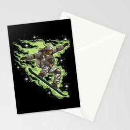 Snowboard Astronaut | Galaxy Winter Universe Stationery Cards