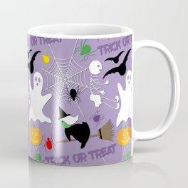 Halloween Pattern - Ghost, Flying Witch, Skeleton, Bats, Spiders, Web, Pumpkin Coffee Mug