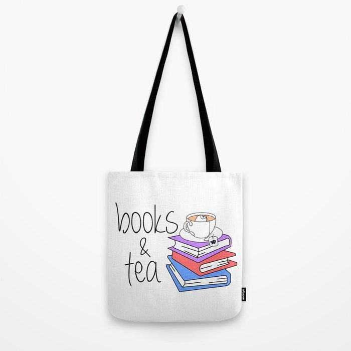 Books and Tea Bookworm Tote Bag by bitobots  b8352479d9445