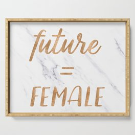 The Future is Female Copper Bronze Gold on Marble Serving Tray