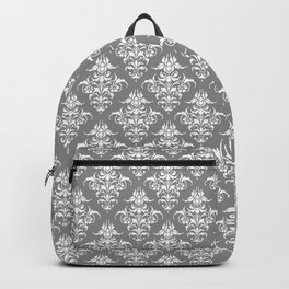 Damask Pattern | Grey and White Backpack