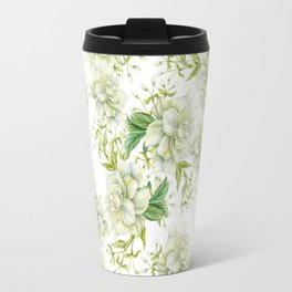Elegant white green hand painted watercolor floral Travel Mug