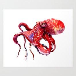 Tropical Red Octopus Art Print
