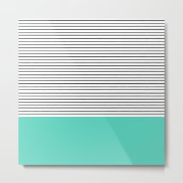 MINIMAL Teal Blue Stripes Metal Print