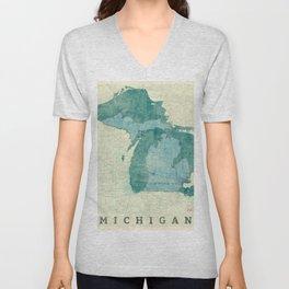 Michigan State Map Blue Vintage Unisex V-Neck